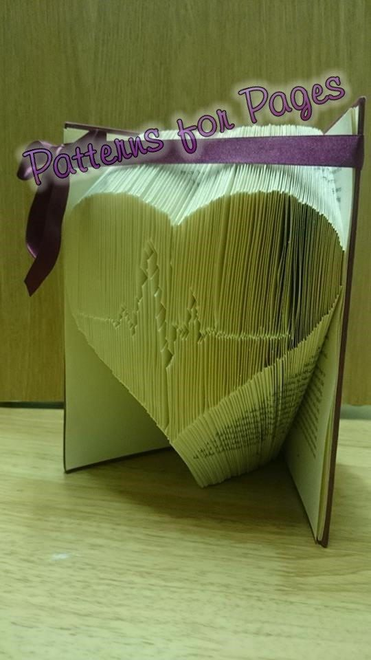 Book folding pattern for HEARTBEAT by PatternsForPages on Etsy