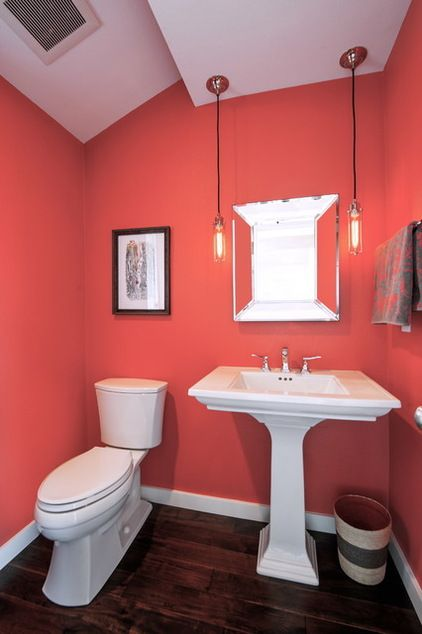 still loving the coral for the powder room powder room by kayron brewer