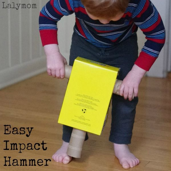 Easy recycled crafts ideas using a shoebox and cardboard tube rolls to make an Impact Hammer, Jack hammer or Riveter.