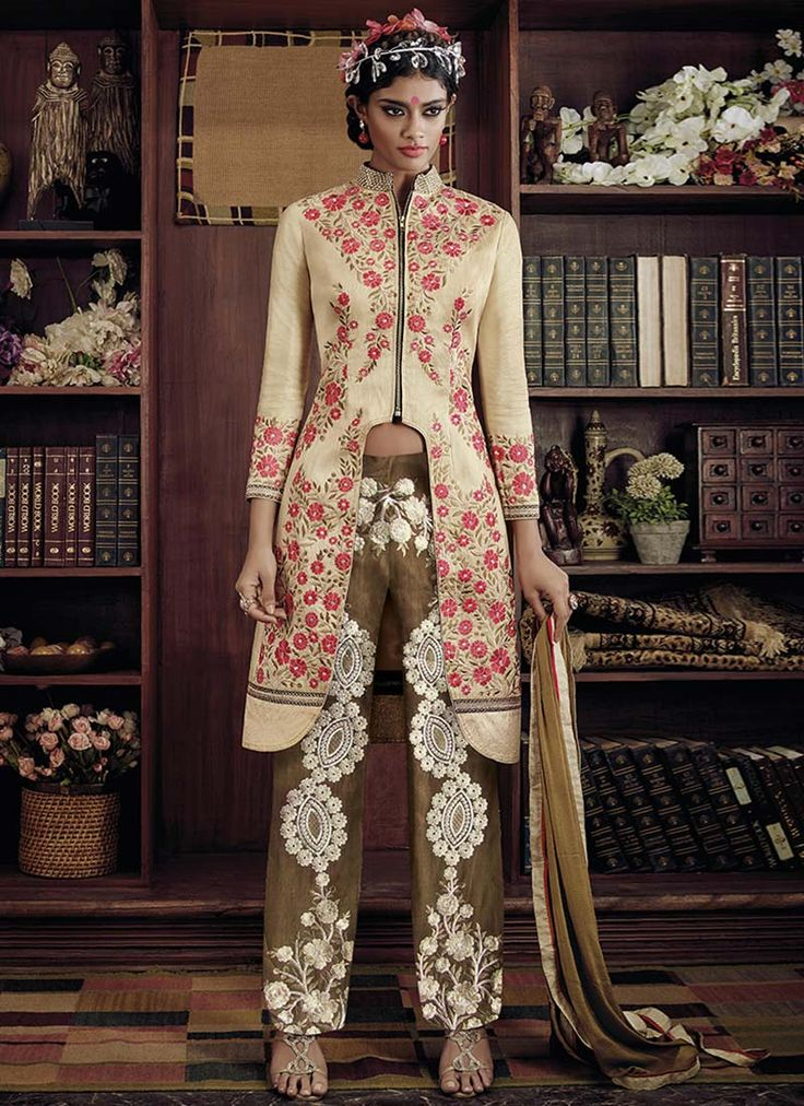 Cream Embroidered Straight Pant Suit