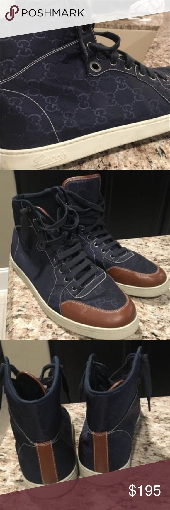Gucci Men's High Top Sneaker Authentic. Classic Gucci Monogram Print. Men's. Gucci Shoes Sneakers