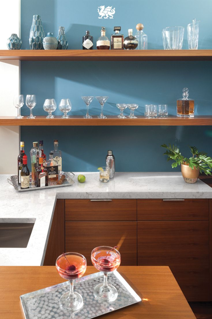 Cambria clyde kitchen and bathroom countertop color - Enjoy The Simple Sophistication Of Contemporary Design Within Your Home Bar Use Open Shelving And A Pop Of Color To Make Entertaining A Natural Fit