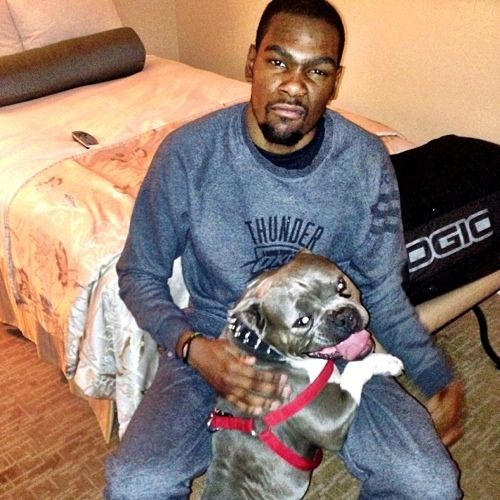 Kevin Durant and his dog.
