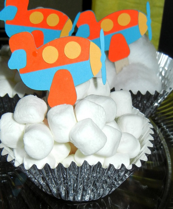 Airplane Cupcake Toppers by PacificPartyPaper on Etsy