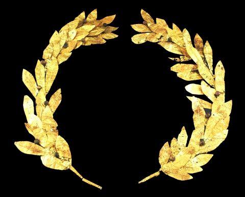 Couronne de lauriers en or, IVe-IIIe s avant J.-C., Reiss-Engelhorn-Museen, Mannheim Dans la Grèce antique, l'usage était établi de couronner de laurier les poètes et les vainqueurs.