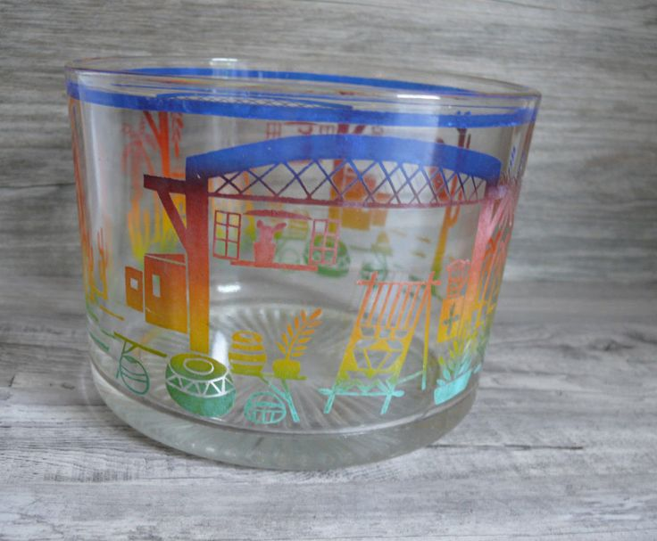 Vintage Glass Ice Bucket Mexican or Southwestern Pattern Home Bar Unique Design