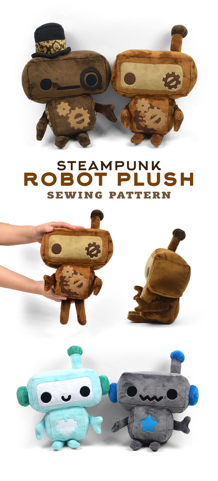 Hi everyone! I've got a new pattern that I've recently added to my Etsy shop :D I had been toying around with the idea of a robot plush for some time now, both as a pattern and as finished plushies…