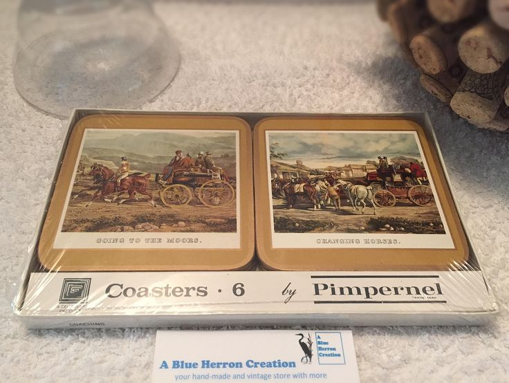 Vintage: Pimpernel Coasters, Coaching,  Acrylic Cork-back, Beer/Wine Mats, Celluware Product, Original Box Set in Shrink Wrap, The Wild West by ABlueHerronCreation on Etsy