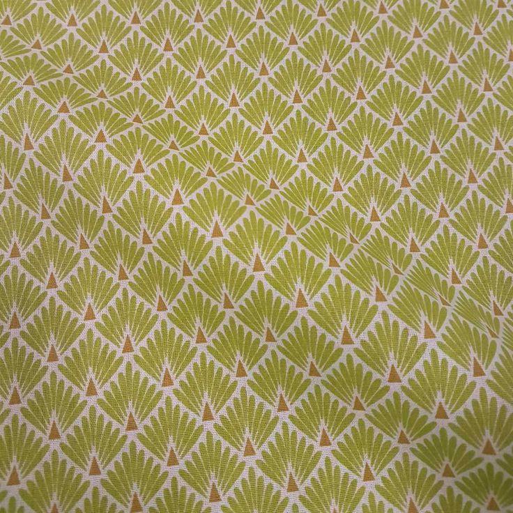 Weiteres - Stoff Baumwolle Japan Fächer Raute lime messing - ein Designerstück von werthers-stoffe bei DaWanda