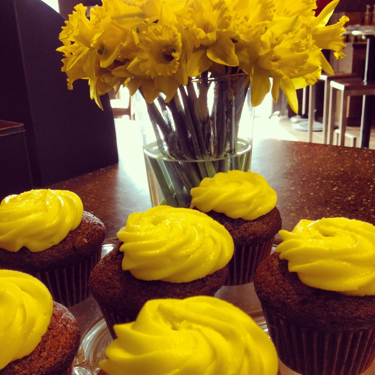 Yellow cupcakes and daffodils. Proceeds donated to Canadian Cancer Society