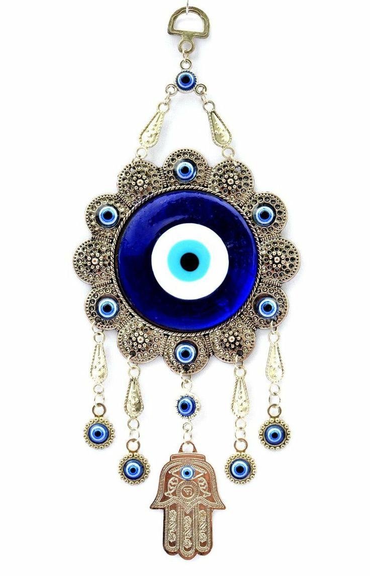 Blue Evil Eye with Hamsa Hand Protection Hanging Ornament