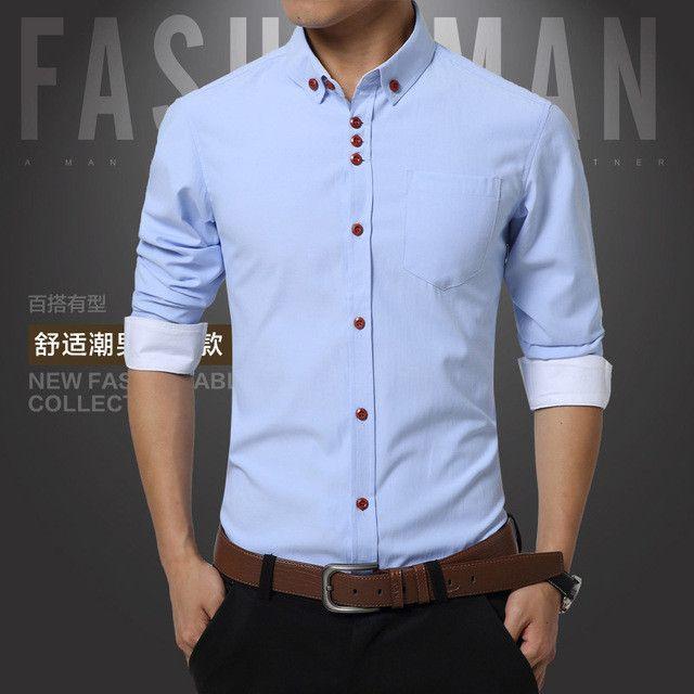 Summer Mens Dress Shirts Cotton Solid Casual Shirt Men Slim Fit Plus Size Long sleeve Stylish Shirt Fashion Plus Size M-5XL