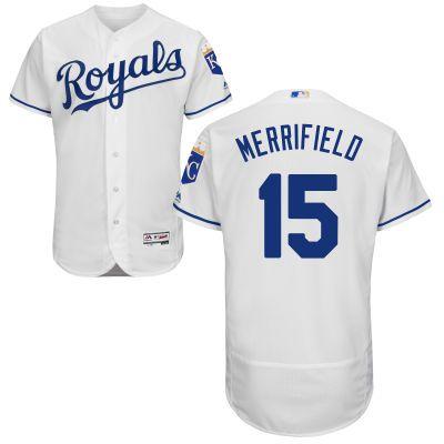 Kansas City Royals #15 Whit Merrifield White Home 2016 Flexbase Majestic Baseball Jersey