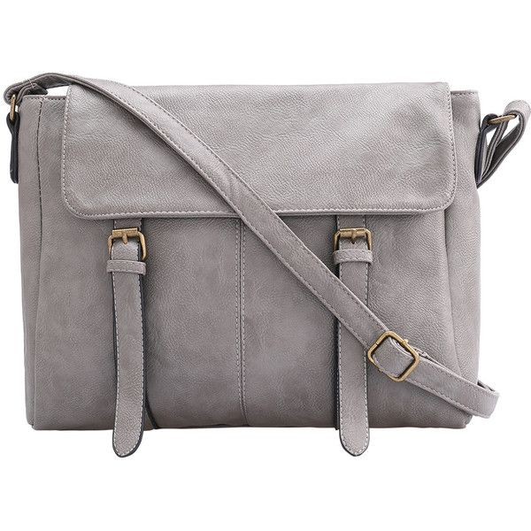 SheIn(sheinside) Grey Buckle PU Shoulder Bag (£14) ❤ liked on Polyvore featuring bags, handbags, shoulder bags, grey, vintage purse, gray purse, grey purse, pu handbags and vintage handbags