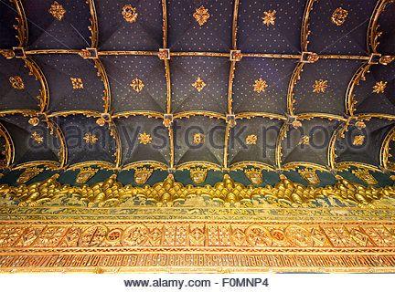 detail of ceiling of room, Alcázar of Segovia, Spain Stock Photo