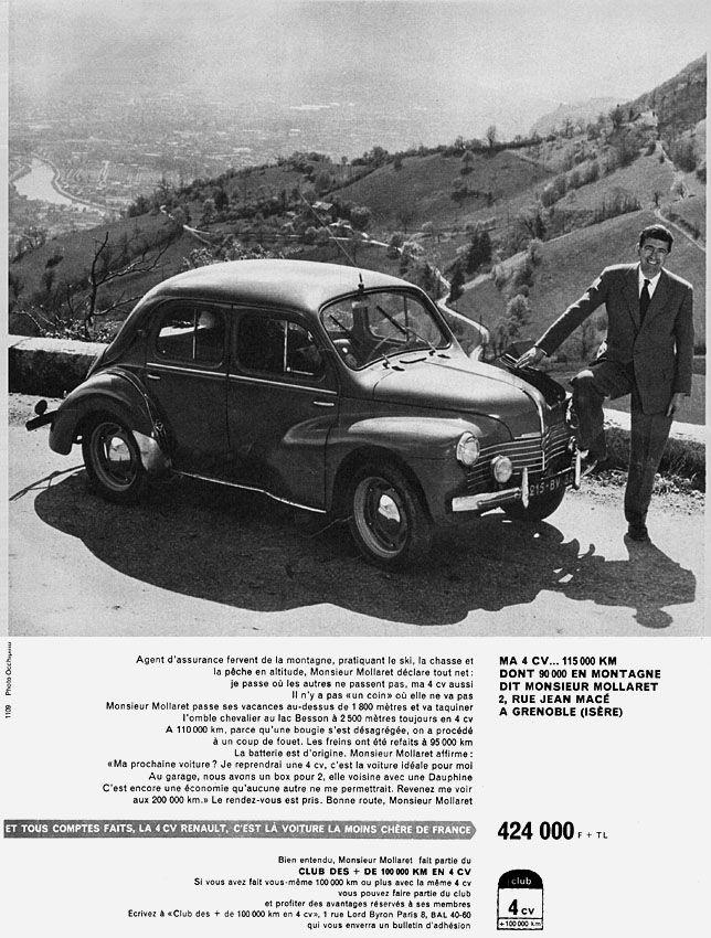 Publicité Renault - 1959 - Renault 4 CV - automobile -