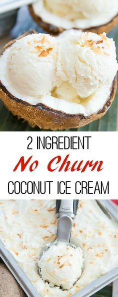2 Ingredient No Churn Coconut Ice Cream. This ice cream is super fluffy and creamy!