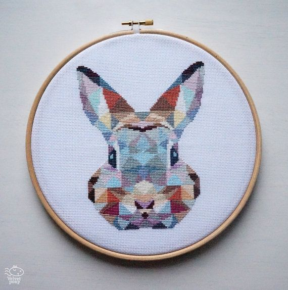 Geometric Bunny Counted Modern Cross Stitch by VelvetPonyDesign                                                                                                                                                                                 More