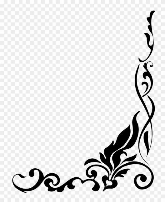 18 Floral Border Png Black And White Line Design Clip Art Ilustrasi