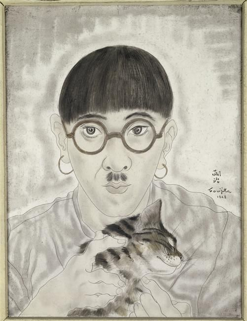 Self Portrait with Cat - Tsuguharu Foujita