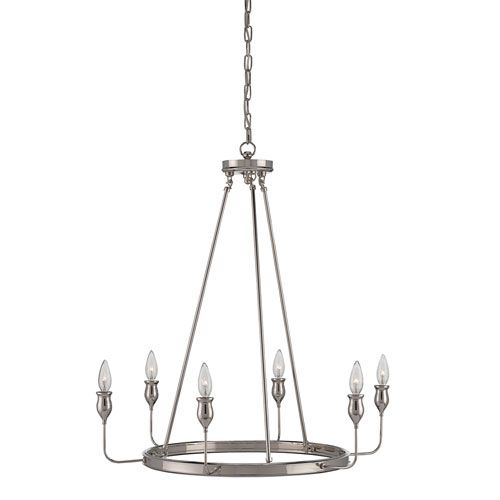 Currey & Company Trilogy Polished Nickel Six Light Chandelier On SALE
