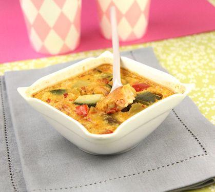 Petits clafoutis à la niçoise dès 12 mois - Envie de bien manger. Plus de recettes pour bébé sur www.enviedebienmanger.fr/idees-recettes/recettes-pour-bebe