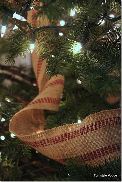Burlap ribbon in christmas tree holidays pinterest for Burlap ribbon on tree