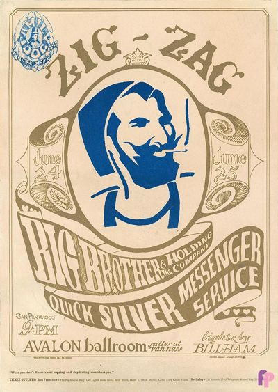 Concert Poster - Janis Joplin / Big Brother and the Holding Company at Avalon Ballroom 6/24-25/66 by Stanley Mouse  Alton Kelley