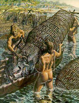 In Nederland zijn de jagers en verzamelaars ook geweest. In Bergschenhoek is een visfuik gevonden uit de prehistorie. Hier zie je hoe ze met een visfuik vissen vangen.