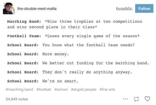 I'm in middle school so we don't have marching band we just have normal band but our school is basically the sme