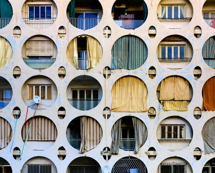 .: Circles, Patterns Architectureclust, Building, Balconies, Hole Facades, Rear Window, Architecture Interiors Design, Cities Living, Window Art