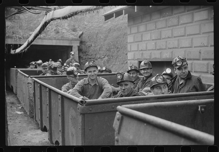 """The next """"trip."""" Coal miners ready for next shift to go into mines. Maidsville, West Virginia. 1938. Library of Congress."""
