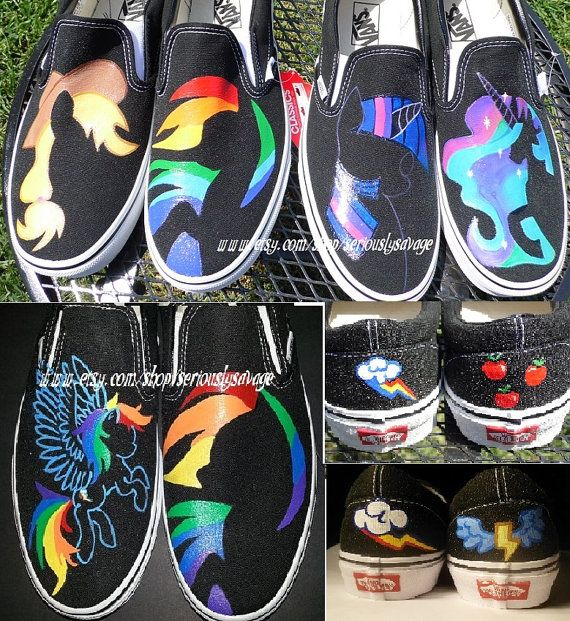 ANY SIZE Any Character My Little Pony Silhouette Custom Painted Shoes Vans Toms Converse Rainbow Dash Pinkie Pie Rarity