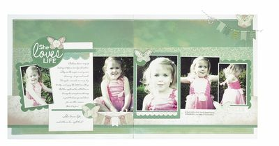 Kaisercraft Double Layout - She Loves Life Range:  Enchanted Garden Collection Featured in May 2013 Kaisercraft Magazine
