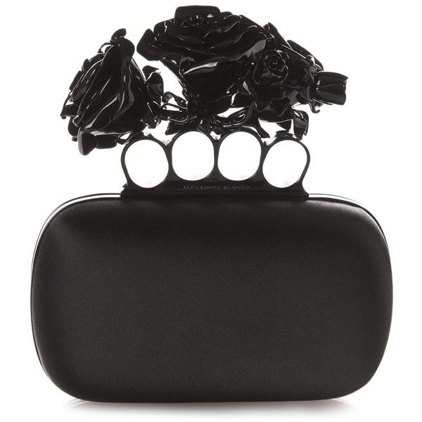 Alexander McQueen Rose Knuckle-duster satin clutch (£2,170) ❤ liked on Polyvore featuring bags, handbags, clutches, black, satin purse, black clutches, rose handbag, satin clutches and black satin handbag