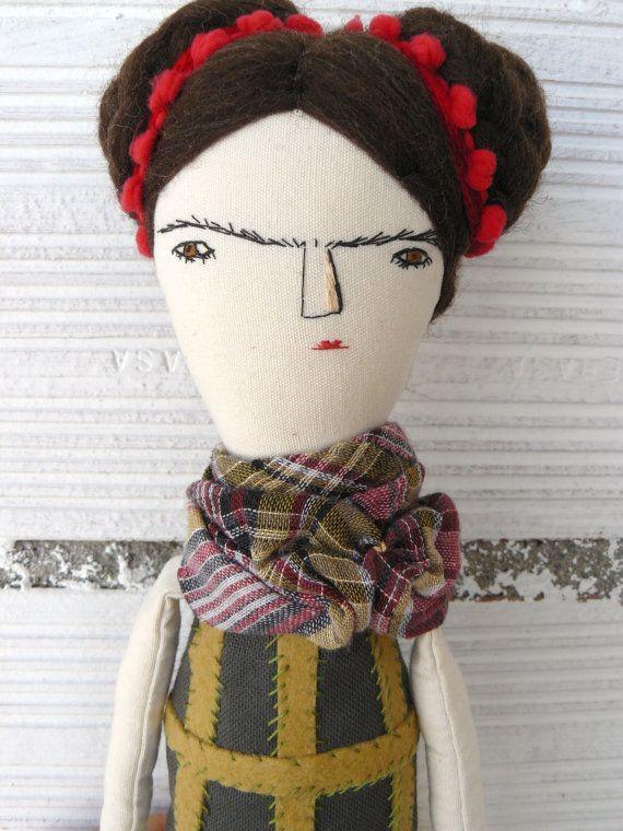 Big Frida Kahlo rag doll. Linen and cotton. by AntonAntonThings