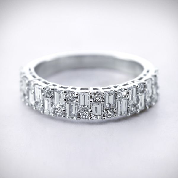 Vintage baguette and diamond womens wedding band in Platinum