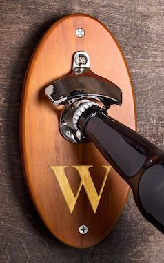 Personalized wall mounted bottle opener - personalize your bar
