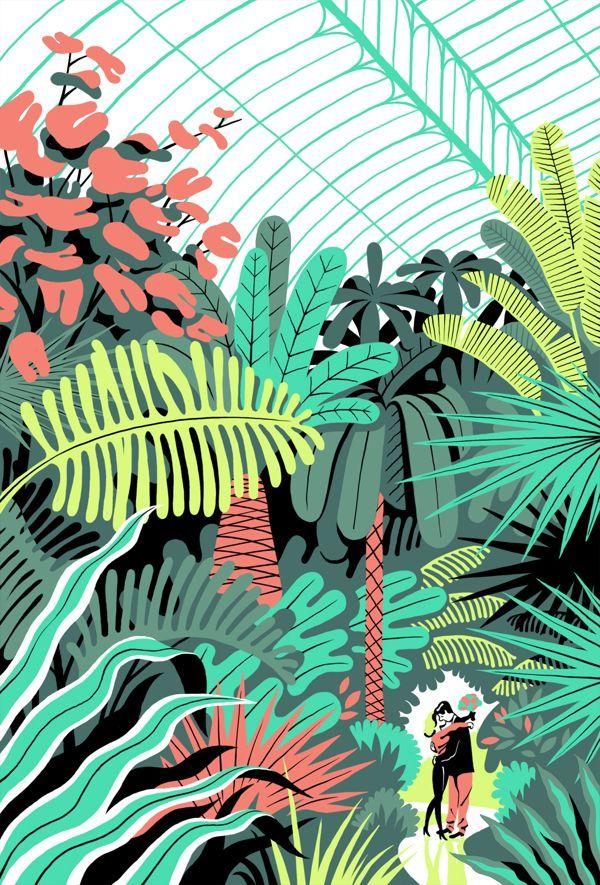 """""""In the Greenhouse"""", ilustração de 2013 do francês Vincent Mahé.  Veja também: http://semioticas1.blogspot.com.br/2012/09/revistinha-de-vovo.html  ."""