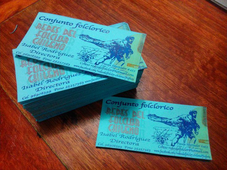 """Impresion de 200 tarjetas de presentación """"Redes del folclor chileno"""""""