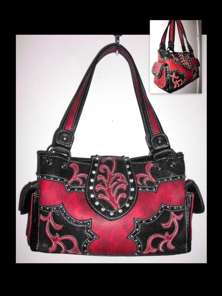 TEXAS LEATHER Concealed Carry Western Applique Embellished Handbag Red Black  #TexasLeatherManufacturing #ShoulderBag