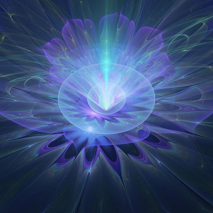 Fractal Digital Art - Serenity Abstract Fractal by Mariia Kalinichenko. Volumetric flower created in Fractal Architect program. #MariiaKalinichenko