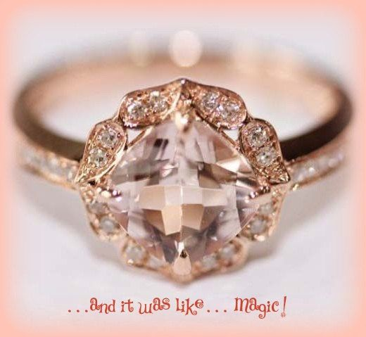 Vintage+Engagement+Ring+Cushion+Cut+Morganite+in+by+ItWasLikeMagic,+$1,140.00
