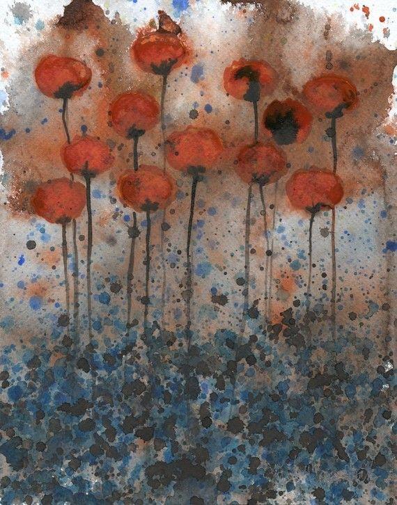 Aquarell: Aquarell Blumen Malerei--Kunstdruck--Bittersweet Me--Orange Blumen--11 x 14