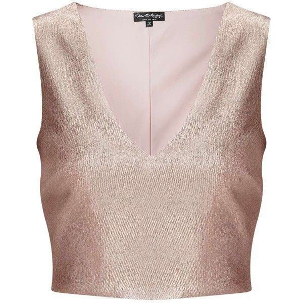 Miss Selfridge Rose Gold Shell Top (1.515 UYU) ❤ liked on Polyvore featuring tops, crop tops, shirts, miss selfridge, rose pink, party shirts, metallic shirt, metallic crop top, pink crop top and metallic top