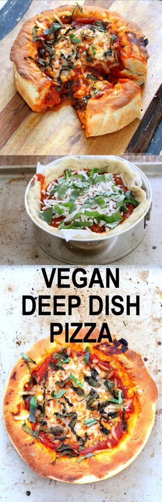 Vegan Deep Dish Pizza Recipe. Easy Deep Dish Pizza with from scratch crust, red pepper, spinach, vegan mozzarella and basil | follow @sophieeleana
