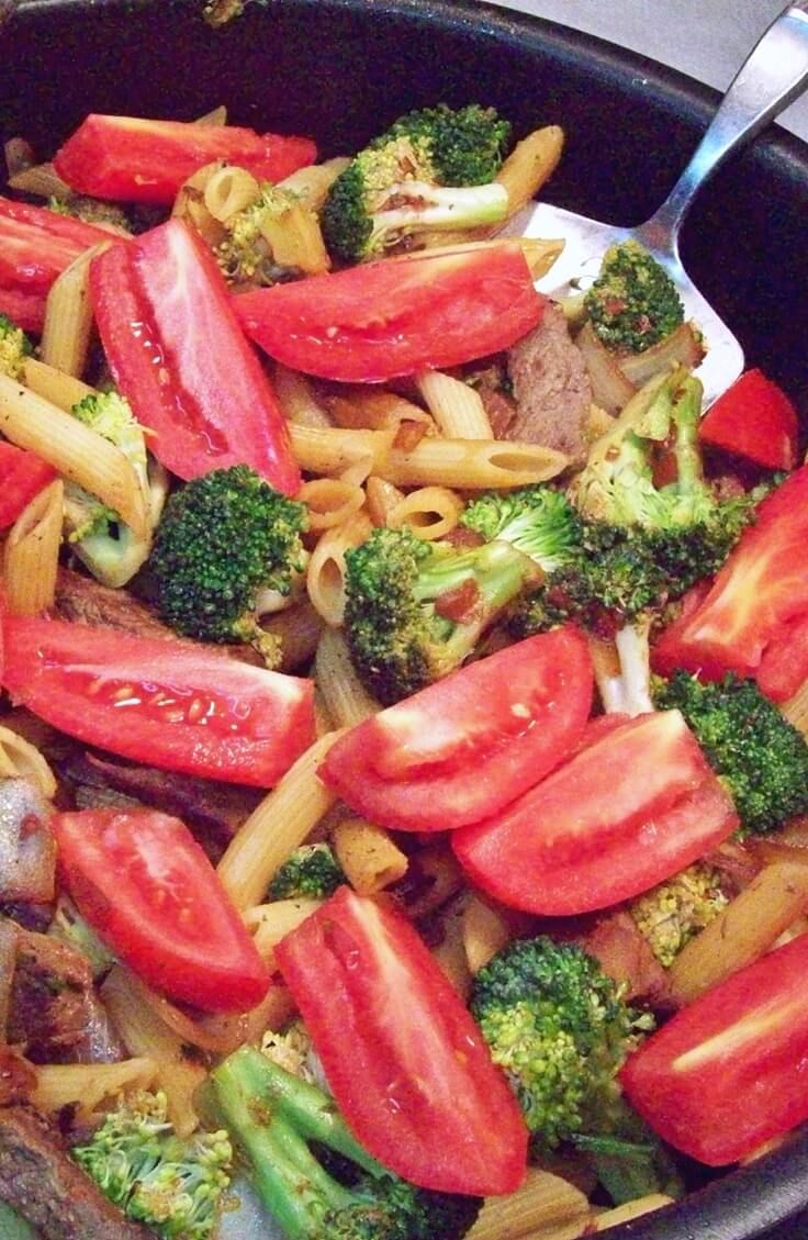 Salsa and low-sodium soy sauce create a unique and delicious combination in this beef, broccoli, tomato and pasta stir fry recipe.