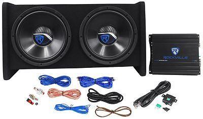 """Rockville RV12.2A 1200w Dual 12"""" Car Subwoofer Enclosure+Mono Amplifier+Amp Kit"""