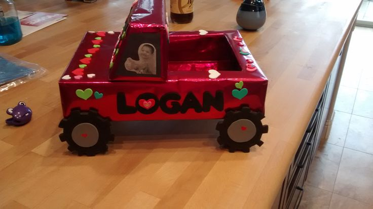 Valentine's Day Card Box.  Monster Truck-side view.