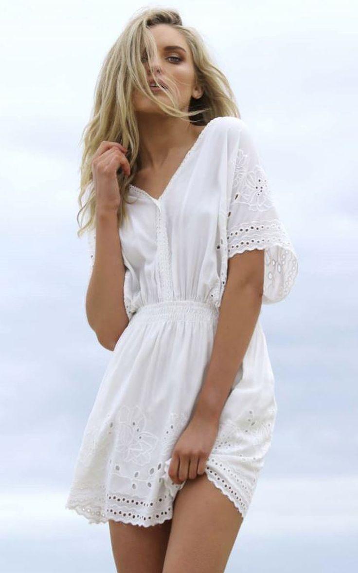 Madison Square Clothing - Faithful Embroided Dress In White